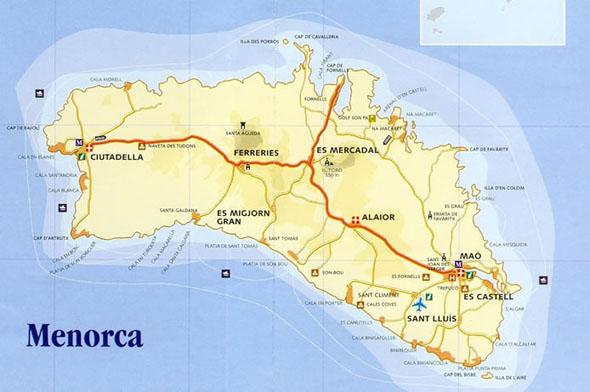 Menorca Map Hikipisarat