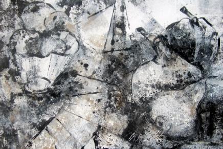 maalaus musta-harmaa-valkoinen asteikolla