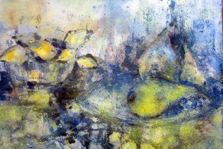 maalaus valkoisella, keltaisella ja siniselläpigmentillä