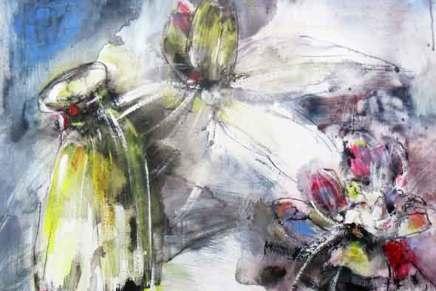 ekspressiivistä kukkamaalausta