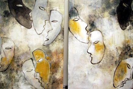 naamioita akryyliväreillä ja metalligrafiikkana