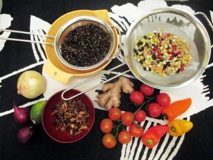 beluga-linssejä ja currypataa