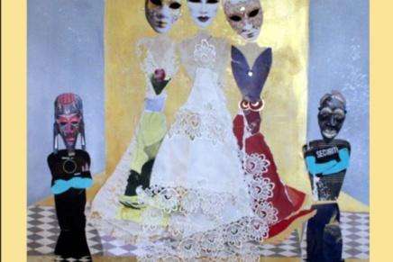 naisen naamio -kollaasit pääsivät kirjansivuille