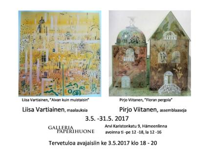 maalauksia ja assemblaaseja galleriapaperihuoneella