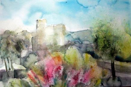 akvarellinäyttely vanhassa kaupungissa