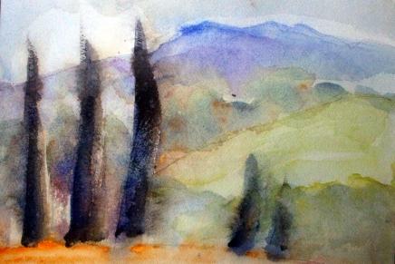akvarelleja italian taivaanalla