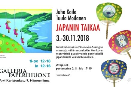 japanitaidetta ja monotypioita galleriapaperihuoneella